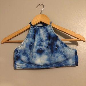 Tie Dye Blue Halter Swimsuit Top